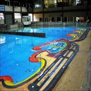 Essai en modéle réduit physique 3D bassin à houle Rivage de Kharouba Mostaganem